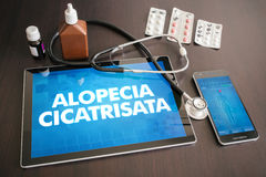 Alopecia cicatrisata (cutaneous disease) diagnosis medical conce. Pt on tablet screen with stethoscope Stock Images