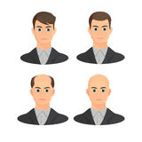 Alopecia concept. Set of heads showing the hairloss progress. Royalty Free Stock Photos