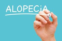 Alopecihårförlust eller flintskallighetbegrepp arkivbild