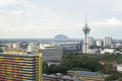 ALOR SETAR, MALASIA, EL 9 DE ENERO DE 2018: Paisajes urbanos de la visión aérea de la ciudad de Alor Setar situados en Malasia pe Imagenes de archivo