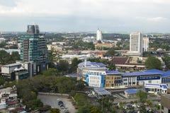 ALOR SETAR MALAYSIA, 9 JANUARI 2018: Cityscapes för flyg- sikt av den Alor Setar staden som lokaliseras på nordliga halvöliknande Fotografering för Bildbyråer