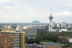 ALOR SETAR MALAYSIA, 9 JANUARI 2018: Cityscapes för flyg- sikt av den Alor Setar staden som lokaliseras på nordliga halvöliknande Arkivbilder