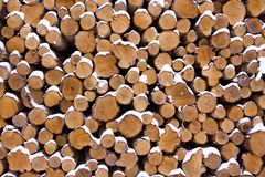 Alot of wood. Wood ready to be fired up after the snow has fallen Stock Photography