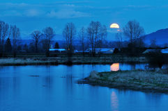 Alouette River Moonrise Stock Photos
