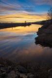 Alouette rzeki zmierzch Obrazy Stock