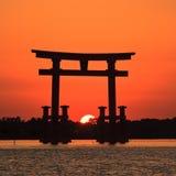 ηλιοβασίλεμα της Ιαπωνί&alp Στοκ φωτογραφία με δικαίωμα ελεύθερης χρήσης