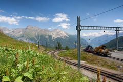 Alp Grum railway station is situated on the Bernina Railway Stock Images