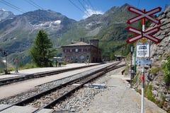Alp Grum railway station is situated on the Bernina Railway Stock Photos