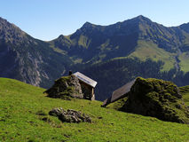 Alp huts in the Raetikon mountains Stock Image