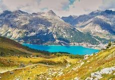 Alp Surlej, montagna e bello lago a StMoritz, Svizzera Fotografia Stock