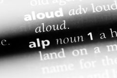 Alp. Word in a dictionary.  concept stock photo