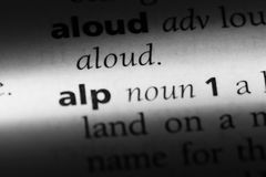 Alp. Word in a dictionary.  concept royalty free stock photo