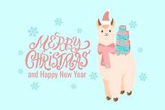 Alpaca linda de la llama del estilo plano en el sombrero y la bufanda rojos de Papá Noel con las cajas de regalo en su ejemplo tr libre illustration