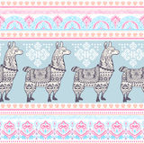 Alpaca Llama animal with ethnic ornaments Royalty Free Stock Photos