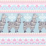 Alpaca Llama animal with ethnic ornaments Royalty Free Stock Photos