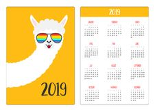 Alpaca llama animal face in rainbow glassess. Simple pocket calendar layout 2019 new year. Week starts Sunday. Cute cartoon royalty free illustration