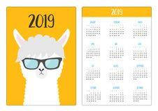 Alpaca llama animal face wearing sun glassess. Simple pocket calendar layout 2019 new year. Week starts Sunday. Cute cartoon. Character. Vertical orientation royalty free illustration