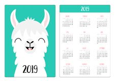 Alpaca llama. Smile with tooth. Simple pocket calendar layout 2019 new year. Week starts Sunday. Vertical orientation. Cute stock illustration