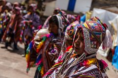 Pisac market, Folklore, Peru stock image