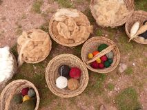 Alpaca wool and yarn in baskets. Baskets of raw and processed alpaca wool in a village in the Andes Mountains in Peru Stock Images