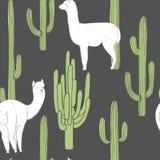 Alpaga et cactus Dirigez la configuration sans joint Illustration Libre de Droits