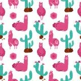 Alpaga rose mignon avec le modèle sans couture de cactus sur le fond blanc Illustration tirée par la main animale de bébé de vect illustration de vecteur