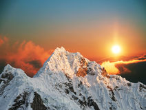 Alpamayo peak on sunset1 royalty free stock images