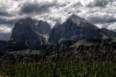 从Alpe在白云岩的di Siusi的Sasso Lungo 库存图片