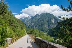 Alpe Adria cycle path, Italy. Alpe Adria cycle path in Italy stock photo