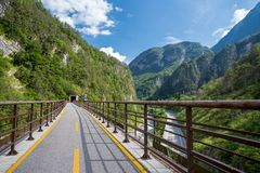 Alpe Adria cycle path, Italy. Alpe Adria cycle path in Italy stock photos