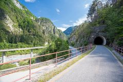 Alpe Adria cycle path, Italy. Alpe Adria cycle path in Italy royalty free stock photography