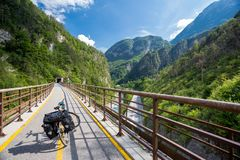 Alpe Adria cycle path, Italy. Touring bike royalty free stock image
