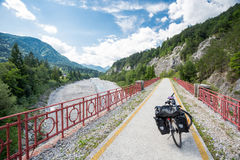 Alpe Adria cycle path, Italy. Touring bike stock image