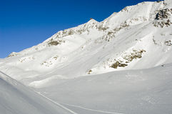 Alpe d'huez. Slopes of the Alpe d'Huez ski resort in the French Alps in Winter Royalty Free Stock Images