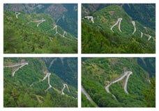 Alpe d'Huez - Haarspeldbochten Stock Foto