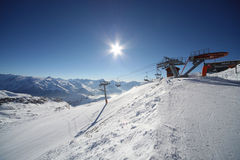 Alpe d'Huez, top resort in french Alps. Image of snowy mountains in Alpe d'Huez, France. Photo taken 12.12.2011 Royalty Free Stock Photo