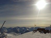 Alpe d'huez zonsondergang Stock Afbeeldingen