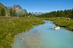Alpe Devero,河和森林的视图 免版税库存图片