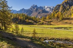 Alpe devero autumnal mountain landscape. A river flowing inside the Alpe Devero flat land with houses, larches and pines trees and mountains in the background stock image