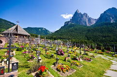 Alpe di Siusi cemetery Royalty Free Stock Photo