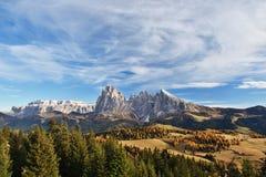 Alpe di Siusi, dolomia, Italia Immagini Stock Libere da Diritti
