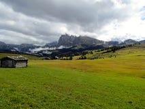 Alpe di Siusi Fjälläng panoramautsikt Arkivbild