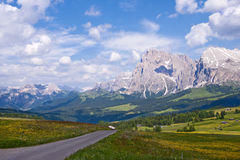 Alpe Di Siusi in Italy. Alpine valley with the Dolomites mountains in the background. Alpe Di Siusi in Northern Italy Royalty Free Stock Photography