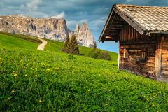 Free Alpe Di Siusi Resort And Mount Sciliar Mountain, Dolomites, Italy Stock Photography - 132601852