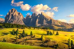 Alpe di Siusi or Seiser Alm and mountains, Dolomites Alps, Italy stock photo