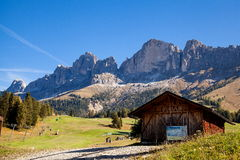 Alpe di Siusi. Seiser Alm and Rosengarten in South Tyrol Royalty Free Stock Photo