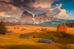 Seiser Alm and Langkofel group at colorful sunset, Dolomites, Italy Stock Image