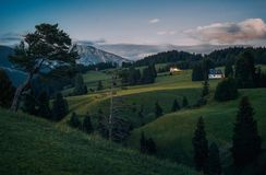 Alpe di Siusi Seisser Alm. Meadows and traditional old mountain chalets Royalty Free Stock Photo