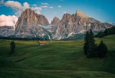 Alpe di Siusi Seisser Alm. Meadows and traditional old mountain chalets Stock Photography