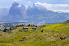 Alpe di siusi in South Tyrol, Italy. Mountain peaks around the plateau in Alpe di siusi in South Tyrol, Italy stock images